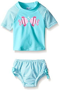 i play. Baby & Toddler Girls' Rashguard Set with Built-In Absorbent Swim Diaper  All-day sun protection- wet or dry! quick-dry material for active play and helps provide ultimate, secure protection for babies and swimmers  Top has flat lock seams for extra comfort with short sleeves for freedom of movement  Built-in, lightweight diaper encourages swimming and no other diaper necessary. Economical and creates less waste- use and reuse  UPF 50+ excellent sun protection  Formaldehyde free...