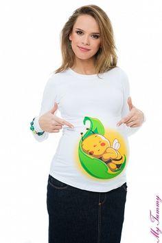 """Těhotenské tričko bílé """"Včelička na lístku"""""""