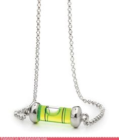 I laughed when I saw this necklace. My dad gave me a little level just like this when I started dating and told me to wear it around my neck and NEVER let it 'tilt'  lol!  Miss him:) -Christin