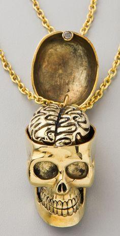Monserat De Lucca - Best Friend Necklace :: Skull & Brain