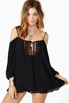 Open Road Crochet Top in Black