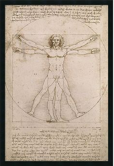 "0-028437>25x37"" Leonardo da Vinci Proportions of the Human Figure Vitruvian Man Framed Print"