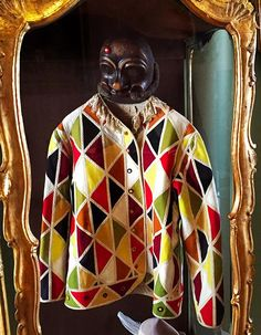 Commedia dell'arte—Original century Arlecchino costume from Carl Goldoni's House in Venice. Full Face Mask, Face Masks, Aldo Rossi, Phantom, Period Costumes, Empire Style, Previous Year, Fancy Dress, Venice