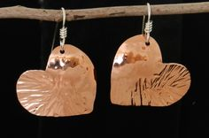 Shiny little copper Valentine heart earrings hung on Sterling silver 2516