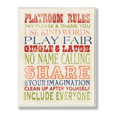 Found it at Wayfair - The Kids Room Playroom Rules Typography Wall Plaque http://www.wayfair.com/daily-sales/p/Kids%27-Favorite-Playroom-Updates-The-Kids-Room-Playroom-Rules-Typography-Wall-Plaque~SXI1323~E23013.html?refid=SBP.rBAZEVVjltJdAFWVVoS0AjgwcLRsV0vgky6YL89Ykb8