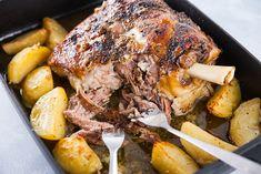 Slow-Cooked Lamb Shoulder with Lemon Potatoes Cooking Lamb Shoulder, Lamb Shoulder Slow Cooker, Slow Roast Lamb Shoulder, Greek Lamb Recipes, Veg Recipes, Slow Cooker Recipes, Cooking Recipes, Potato Recipes, Slow Cooked Lamb Leg