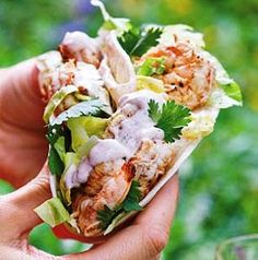 These citrus shrimp tacos pair marinated, grilled shrimp with Southwest Cream Sauce and fresh corn salsa for a colorful entree that's full of flavor. Recipe: C Shrimp Taco Recipes, Shrimp Tacos, Mexican Food Recipes, Grilled Shrimp, Tortilla Recipes, Mexican Dinners, Seafood Dishes, Fish And Seafood, Great Recipes