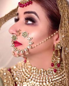 Perfect finishing to a bridal look is given by stunning nose rings! Book the best makeup artist now with BookEventZ to get the perfect bridal look on THE DAY! Indian Wedding Jewelry, Indian Bridal Wear, Bridal Jewelry, Indian Weddings, Indian Jewelry, Nath Bridal, Bridal Nose Ring, Nose Ring Jewelry, Nose Rings