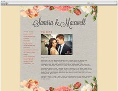 wedding website with flower design template- this site gives you a free wedding site, that can match your other stuff like the invites!