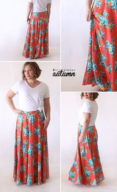 How to make a full, flattering maxi skirt. Easy sewing tutorial.