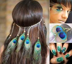 pfau-kostüm-accessoires-haarschmuck-federwimpern-pfau-ohrringe-nageldesign