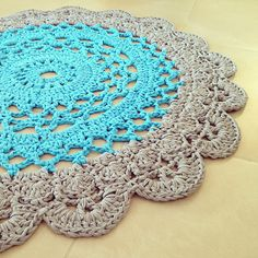 Crocheted giant doily rug 2 colors, good partten with transletion to hebrow.