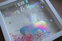 i believe in fairies and unicorns frame / holographic vinyl / unicorn frame / unicorns / glitter unicorn / unicorn room decor / unicorn by Kayleighskeepsake on Etsy