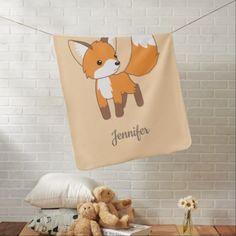 #Curious Little Fox on Peach Swaddle Blanket - #cute #gifts #cool #giftideas #custom