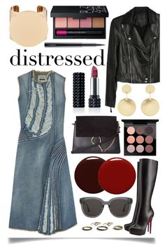 """""""True Blue : Distressed Denim"""" by ittie-kittie ❤ liked on Polyvore featuring Junya Watanabe, Christian Louboutin, Paige Denim, Chloé, Accessorize, Givenchy, MAC Cosmetics, NARS Cosmetics, Kat Von D and Gentle Monster"""