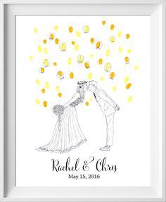 fingerprint guest book for wedding similar to fingerprint tree thumbprint tree Glowing Lanterns Wedding Guest Book guest book alternative
