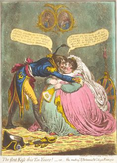 The first Kiss this Ten Years! —or—the meeting of Britannia & Citizen François (1803). The temporary Treaty of Amiens | from reading Rosetta (2005)
