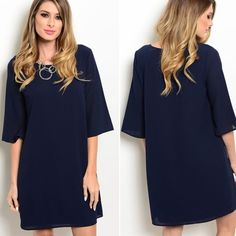 Navy dress Loving this classy and simple navy tunic style dress. Perfect dressed up or down. Please do not purchase this listing. Comment with size and I will create a new listing for you. Small (2/4) Medium (6/8) Large (10/12). Price is firm unless bundled. Dresses