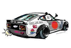 "car illustration ""crazy car art"" jdm japanese old school "" Z-CAR "" original characters ""mame mame rock"" / © ozizo ""ROCK'N ROLL"" Line theme ""Crazy Car Art"" Line themes ""Crazy Car Art"" Line stickers ""Crazy car Art"" Telegram stickers"