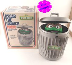 Vintage 1976 Jim Henson Sesame Street Oscar the Grouch AM Portable Radio in Box! by VintageSistersx2 on Etsy