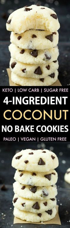 4 Ingredient No Bake Coconut Cookies (Keto Paleo Vegan Sugar Free)- An easy recipe for soft coconut cookies. 4 Ingredient No Bake Coconut Cookies (Keto Paleo Vegan Sugar Free)- An easy recipe for soft coconut cookies. Low Carb Desserts, Vegan Desserts, Low Carb Recipes, Cooking Recipes, Diabetic Recipes, Sugar Free Recipes Easy, Paleo Vegan Recipes Dinner, Easy Low Carb Dessert, Paleo Recipes For Kids