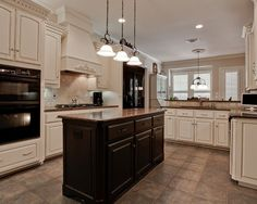 Gray Kitchen Cabinets With Black Appliances white cabinets and backsplash /black counters and appliances plus