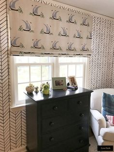 Custom Roman Shade by Lynn Chalk in Katie Ridder Beetlecat in Lavender (comes in other colors).