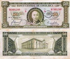 Costa Rica 50 Colones 1971. Costa Rica, Folding Money, Old Newspaper, Ephemera, Paper Art, Stamp, World, Prints, World Coins