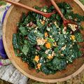 Farro-and-Kale Salad with Olives and Pine Nuts