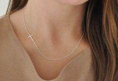 Seitwärts, Kreuz Halskette - Sterling Silber -