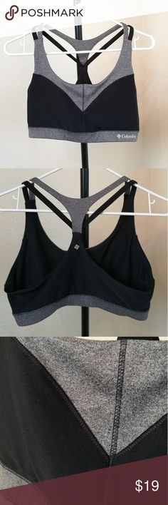 New Columbia Sports Bra w/o tags!! New without tags Columbia sportswear sports bra! Didn't quite fit my ladies so it was NEVER worn. Very cute black and grey with multiple strap detailing on back.  Size large! Please ask questions prior to purchase :) thanks! Columbia Intimates & Sleepwear Bras