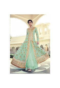 Honeydew Faux Georgette Anarkali Suit-GI51849
