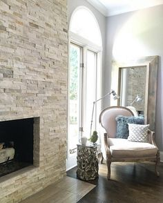 Stone fireplace. The stone on fireplace is RealStone Systems Shadowstone Panel…