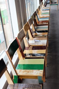 "Scrapwood chair by Piet Hein Eek - love his motto: ""If you do something, something will happen"""