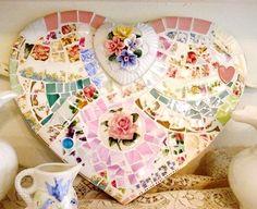 Mosaic Shabby Chic Heart #Mosaic #Heart