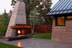Fireplace and corten wall