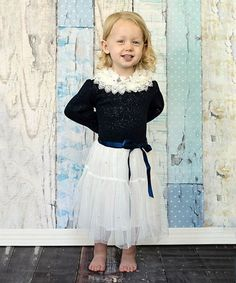 Another great find on #zulily! Navy Blue & White Lace Dress - Toddler & Girls by Just Couture #zulilyfinds