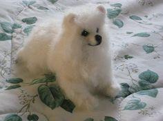 Needle Felted Dog / Custom Pet Portrait / example Pomeranian Crystal $250.00