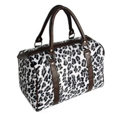 [Enjoy Life] White Leopard Fur Leatherette Double Handle Satchel Bag Handbag Purse