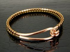 Jewelry, home, food: http://www.pinterest.com/sftsebreez/  Copper Wire Bangle Bracelet Wire Wrapped in Brass