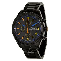 Quartz movement Case diameter: 44 mm Black chronograph dial with yellow, blue, and orange accents Durable mineral crystal protects watch from | Watches