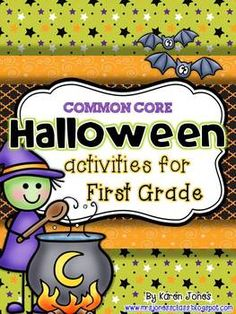 Halloween ELA & Math Centers for 1st grade-- aligned to CC and lots of fun! #TpT