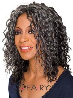 Gorgeous Silver Gray. I love how soft and defined her curls are, that's difficult to maintain.