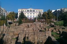 "Ministry of Macedonia-Thrace with ancient ""Agora"" (market) infront. Thessaloniki-Greece"