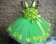 GREEN FLOWERS - Green Tutu Dress - Flower Girl Gown - Pageant Girl Dress - Christmas Tutu - Holiday Girl Dress - Green Flowers Tutu Dress -