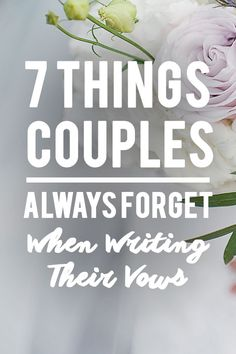 7 Things Couples Always Forget When Writing Their Vows. We rounded up 7 things you should never forget when writing your vows. vows 7 Things Couples Always Forget When Writing Thei Writing Wedding Vows, Writing Vows, Writing Your Own Vows, Funny Wedding Vows, Wedding Vows To Husband, Wedding Humor, Vow Examples, Wedding Vows Examples, Wedding Tips