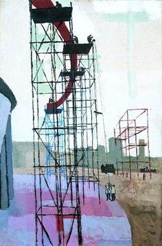 "commonorgarden: """"Scaffolding - Festival of Britain, John Berger, 1950 "" "" Chelsea School Of Art, John Berger, A Level Art, Greater London, Scaffolding, Art Uk, Ways Of Seeing, Built Environment, Your Paintings"