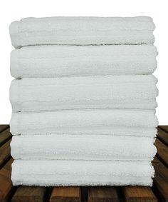 White Stripe Luxury Washcloth - Set of Six