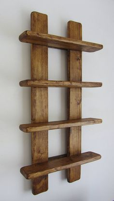 tall shabby chic rustic reclaimed wood 4 tier floating shelf / trinket shelves / display shelves / spice rack - Rustic old wood 4 tier floating display shelves. Handmade from recycled wood. Finished in antique b -
