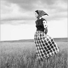 Hutterite girl. Hutterite clothing is not as plain as Old Order Mennonites and Amish. From the book, Hutterites of Montana by Laura Wilson.